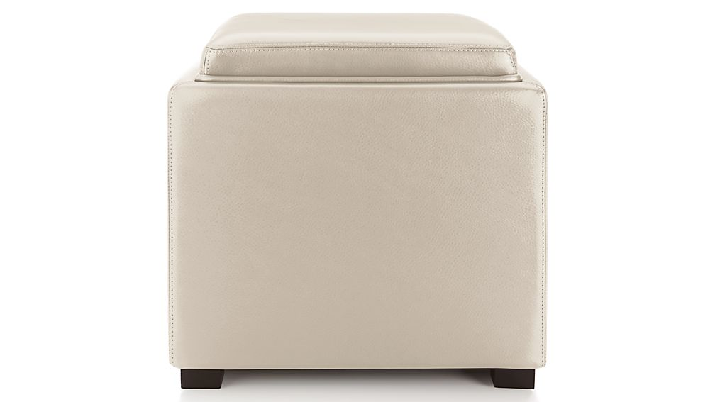 """Stow Oyster 17"""" Leather Storage Ottoman"""