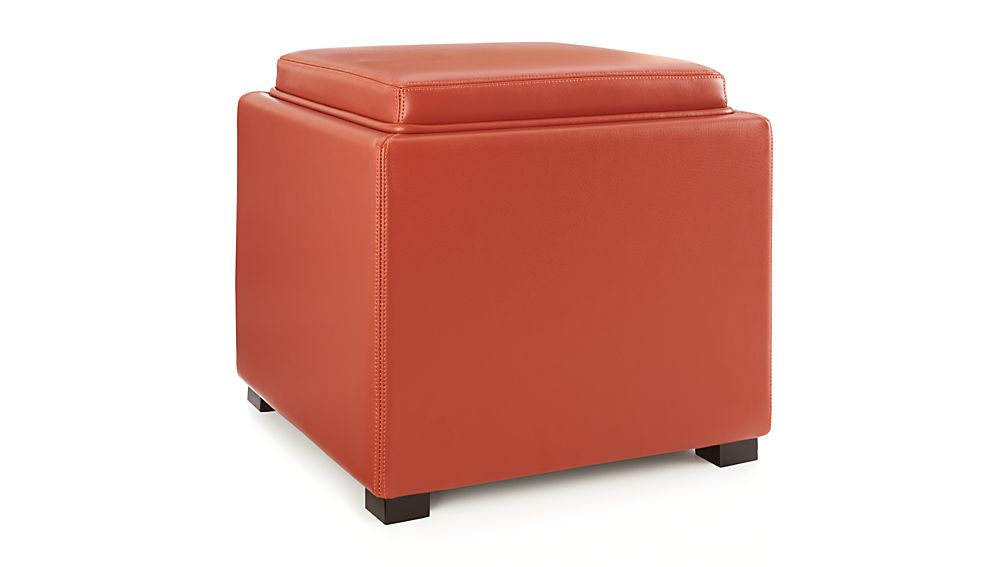 Stow Persimmon 17 Leather Storage OttomanCrate and Barrel