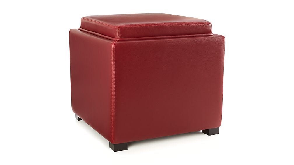 Stow Red 17 Quot Leather Storage Ottoman Crate And Barrel