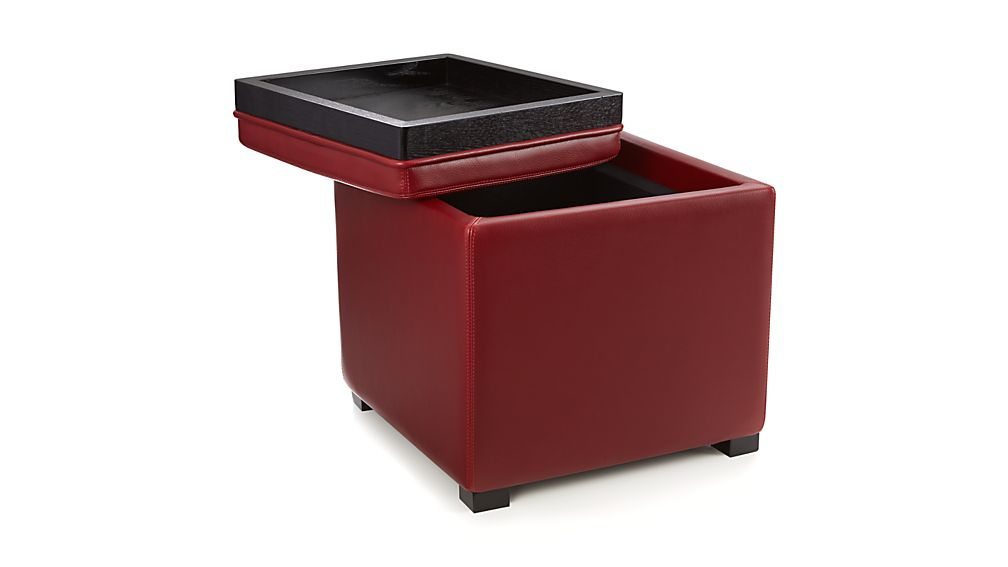 "Stow Red 17"" Leather Storage Ottoman"