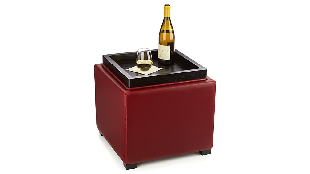"""Stow Red 17"""" Leather Storage Ottoman"""