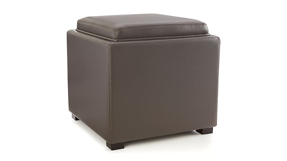 Stow Smoke 17 Quot Leather Storage Ottoman Crate And Barrel