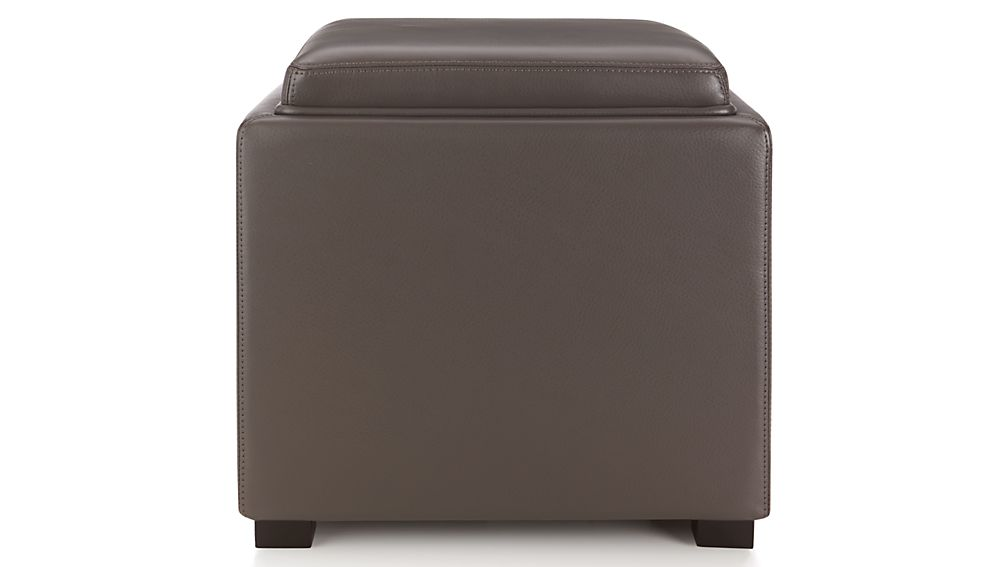 Stow Smoke 17 Quot Leather Storage Ottoman Reviews Crate