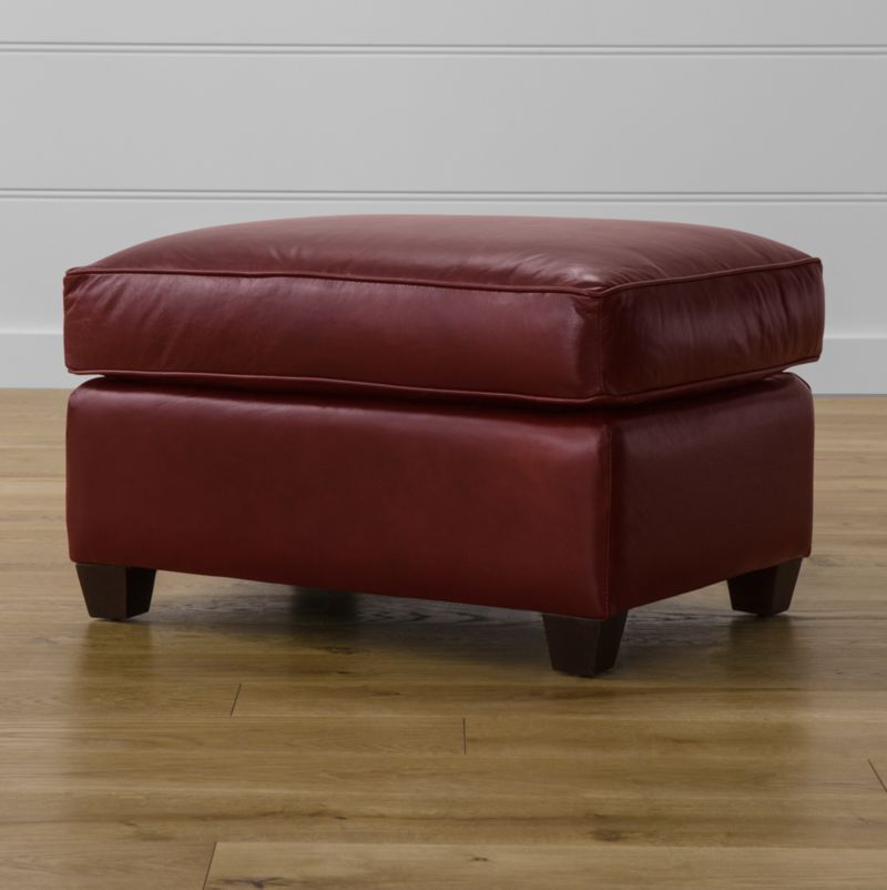 Complement our Streeter seating pieces with this inviting ottoman featuring the same clean, Art Deco lines, soft cushioning and rich, full-aniline dyed leather upholstery. <NEWTAG/><ul><li>Frame is benchmade with certified sustainable hardwood that's kiln-dried to prevent warping</li><li>Multilayer soy-based polyfoam cushion wrapped in fiber-down blend and encased in downproof ticking</li><li>Flexolator spring suspension</li><li>Hardwood legs with hickory brown finish</li><li>Made in North Carolina, USA</li></ul>