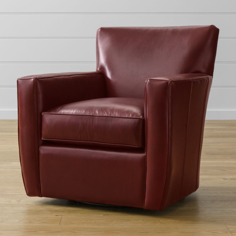 Take a spin in the comfort of home with our 360-degree swivel chair offering inviting elements of soft cushioning, broad, padded track arms and luscious leather. The clean, Art Deco lines of our Streeter collection are echoed in this relaxing swivel chair, along with the fine top-grain leather upholstery tailored with self-welt detailing. <NEWTAG/><ul><li>Frame is benchmade with certified sustainable hardwood that's kiln-dried to prevent warping</li><li>Multilayer soy-based polyfoam seat cushion wrapped in fiber-down blend and encased in downproof ticking</li><li>Multilayer soy-based polyfoam with fiber tight back</li><li>360-degree swivel glider mechanism</li><li>Made in North Carolina, USA</li></ul>