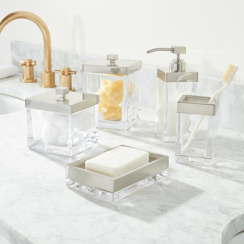 Stretten Nickel Trim Glass Bath Accessories