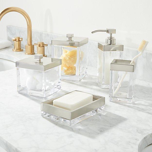 Bathroom Accessories.Stretten Nickel Trim Glass Bath Accessories