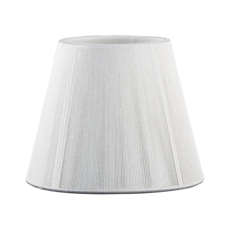 Handsome tapered chandelier shade is crafted of meticulously wrapped string in an ivory hue with a subtle sheen. The effect creates a linear texture and allows light to shine through.<br /><br /><NEWTAG/><ul><li>Poly-cotton blend string</li><li>Hand- and machine-made</li><li>Made in China</li></ul>