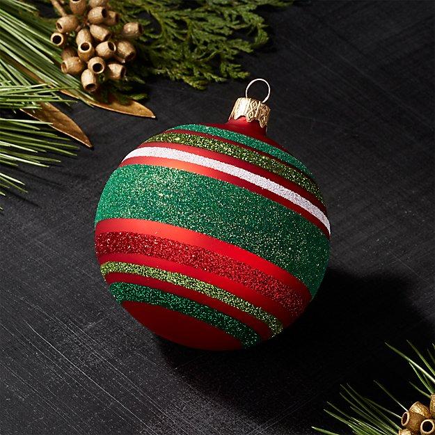 Red Stripe Ball Ornament