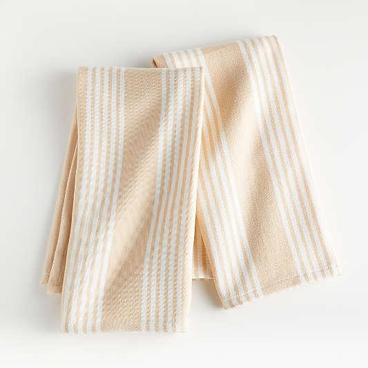 Almond Stripe Dish Towels, Set of 2