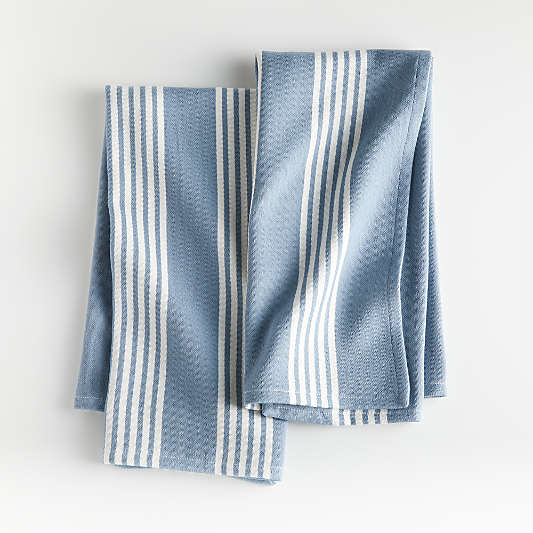 Blue Stripe Dish Towels, Set of 2