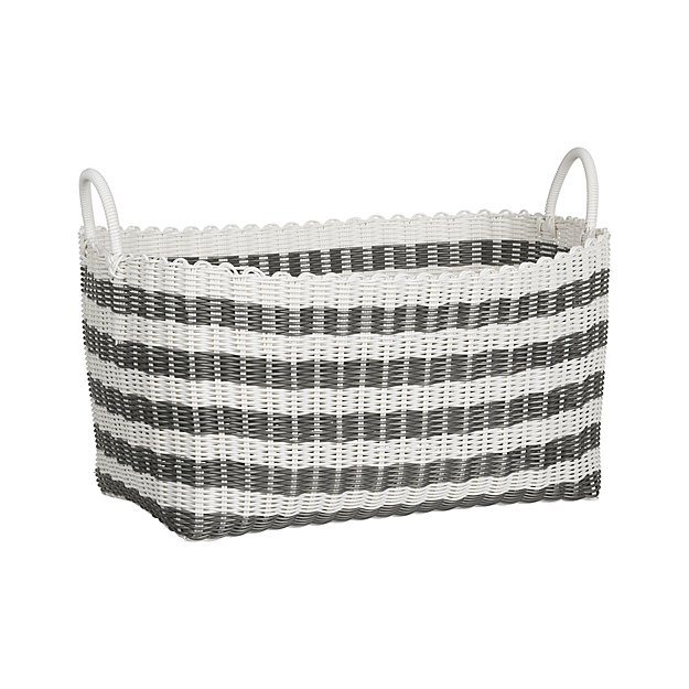 Grey white stripe laundry hamper crate and barrel - Superhero laundry hamper ...