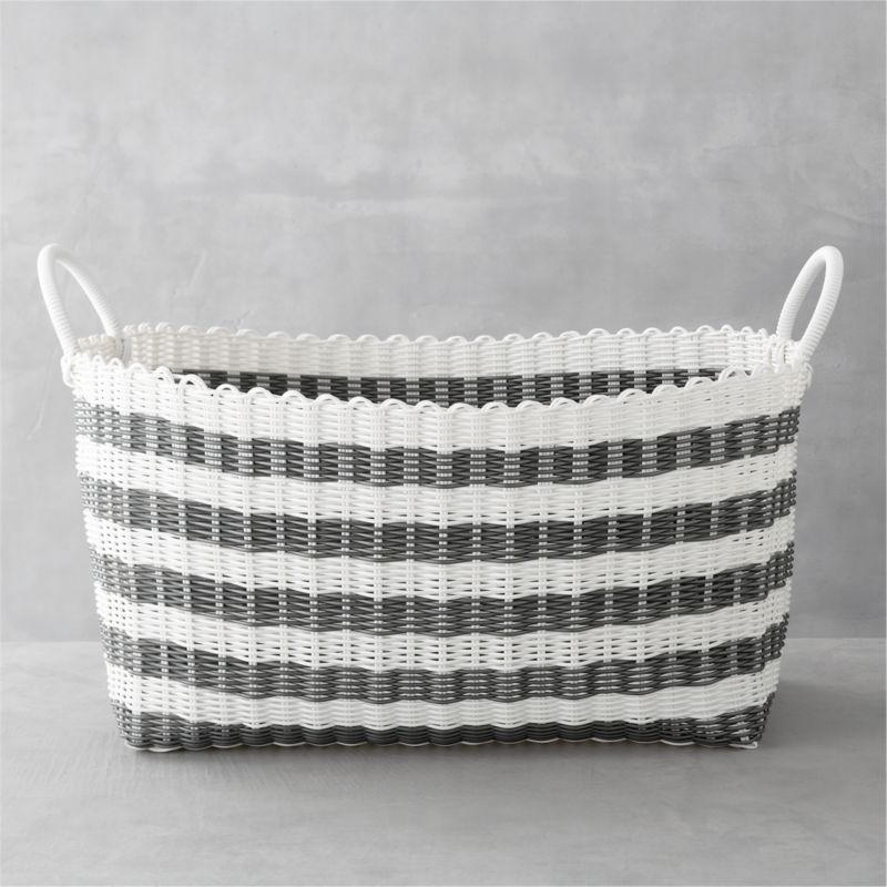 Grey White Stripe Laundry Hamper