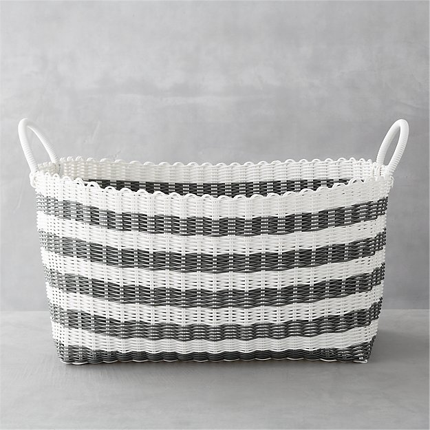 Grey White Stripe Laundry Hamper Crate And Barrel