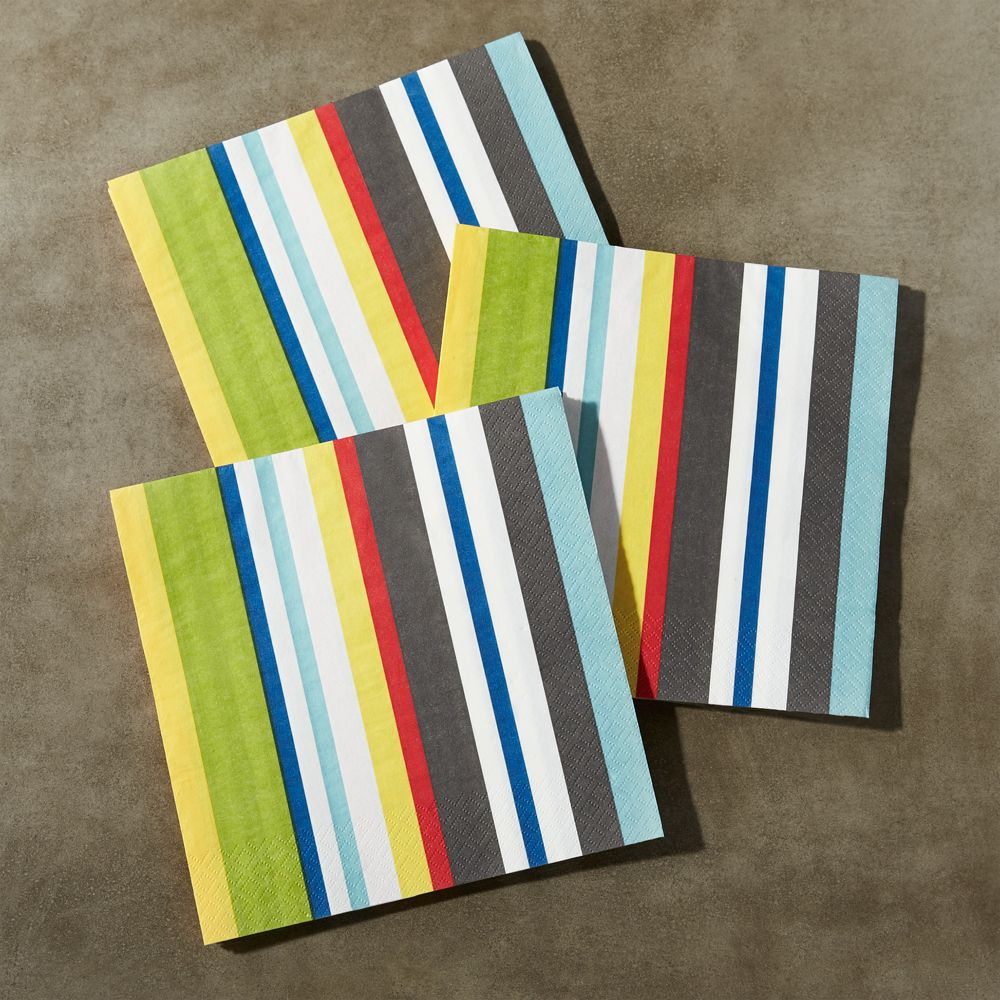 Striped Paper Lunch Napkins, Set of 20 - Crate and Barrel