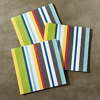 Striped Paper Lunch Napkins, Set of 20