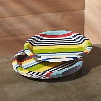 "Striped 10"" Paper Dinner Plates, Set of 12"