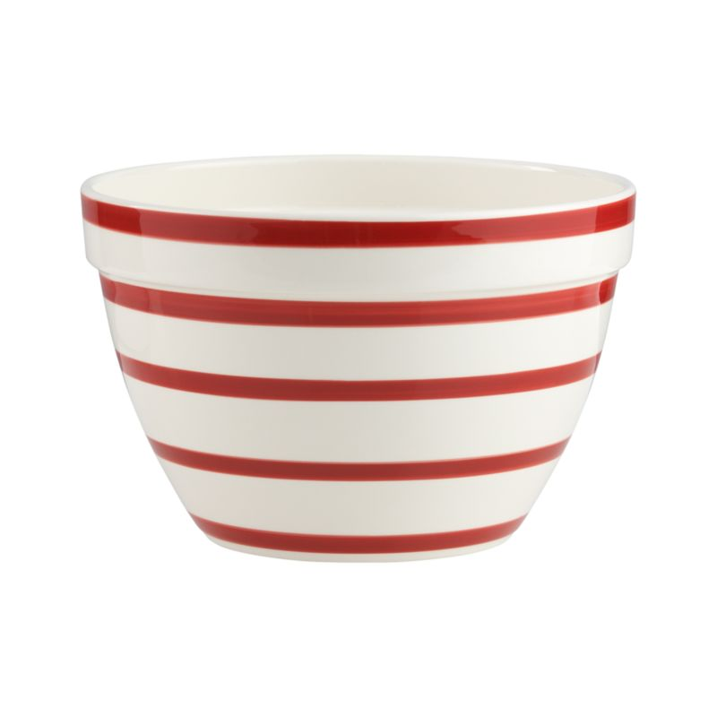 Graduated red stripes put a modern spin on the classic, all-purpose mixing bowl. Generous earthenware bowl coordinates with an individual serving bowl.<br /><br /><NEWTAG/><ul><li>High-fired earthenware</li><li>Dishwasher- and microwave-safe</li><li>Not oven- or freezer-safe</li><li>Made in Portugal</li></ul>