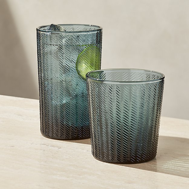 Stroke Teal Textured Drinking Glasses - Image 1 of 2