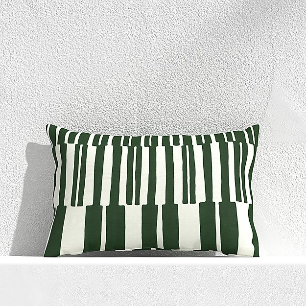 """Striped Lines Green 20""""x13"""" Outdoor Pillow - Image 1 of 3"""