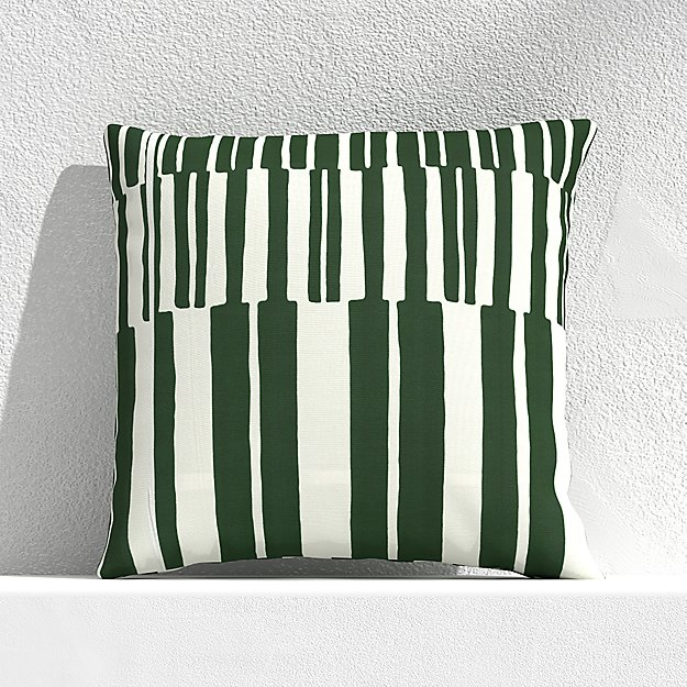 """Striped Lines Green 20"""" Outdoor Pillow - Image 1 of 3"""
