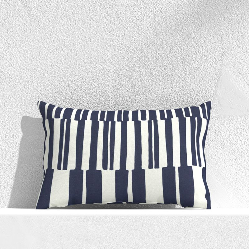 Striped Lines Navy Outdoor Pillow