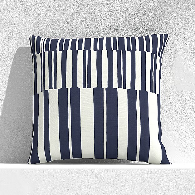 """Striped Lines Navy 20"""" Outdoor Pillow - Image 1 of 3"""