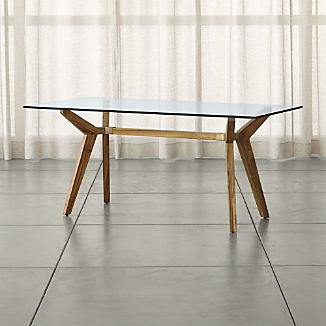 "Strut Teak Glass Top Table 70"""