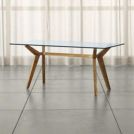 Strut Teak Glass Top Table 70\