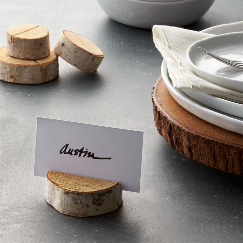stump wood place card holder