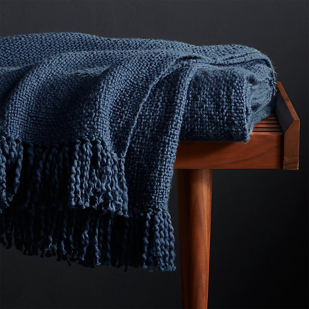 blue throw blanket Styles Blue Fringe Throw Blanket + Reviews | Crate and Barrel blue throw blanket