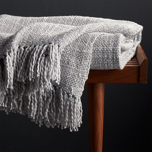 Styles Dove Fringe Throw Blanket Crate And Barrel