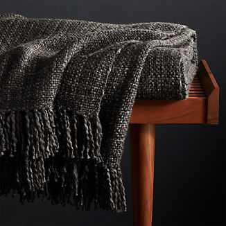 Styles Ebony Fringe Throw Blanket