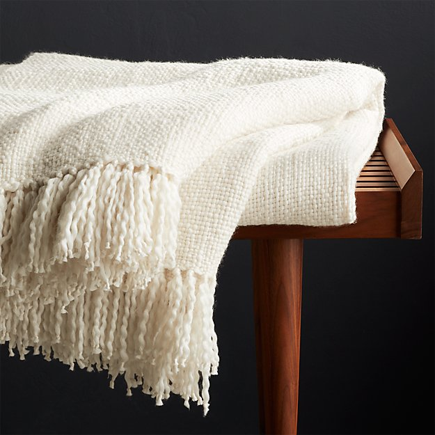 Styles Ecru Fringe Throw Blanket - Image 1 of 8