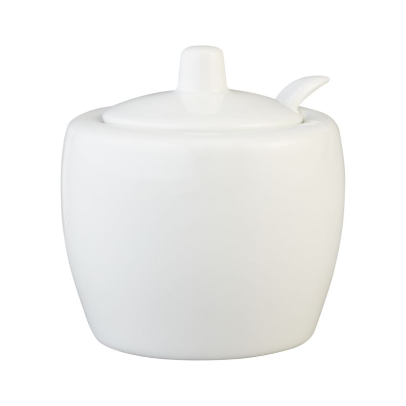 All-purpose sugar bowl with simple lines in durable white porcelain coordinates with most table settings. Lidded sugar bowl has a notched rim to nest the accompanying spoon.<br /><br /><NEWTAG/><ul><li>Porcelain</li><li>Dishwasher-, microwave- and freezer-safe</li></ul>
