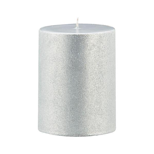 "Sugar Frost Silver 3""x4"" Pillar Candle"