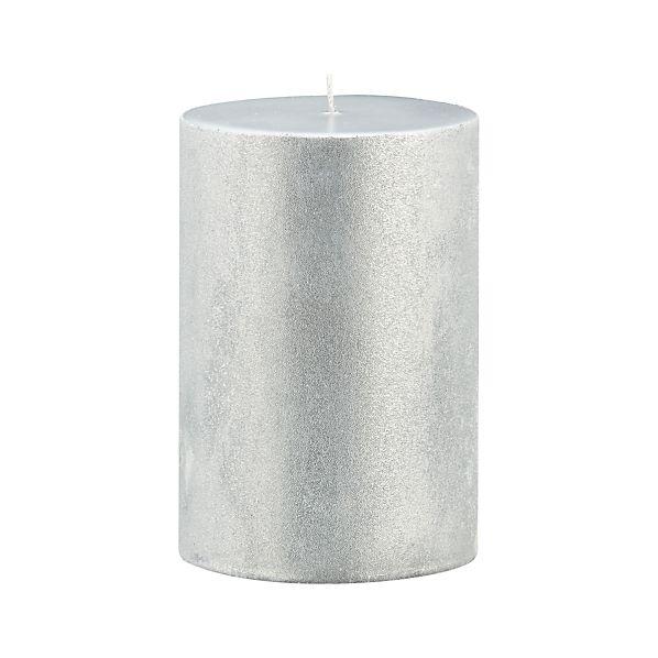 "Sugar Frost Silver 4""x6"" Pillar Candle"