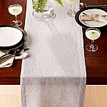 Suits Neutral Grid Grey 90  Linen Table Runner