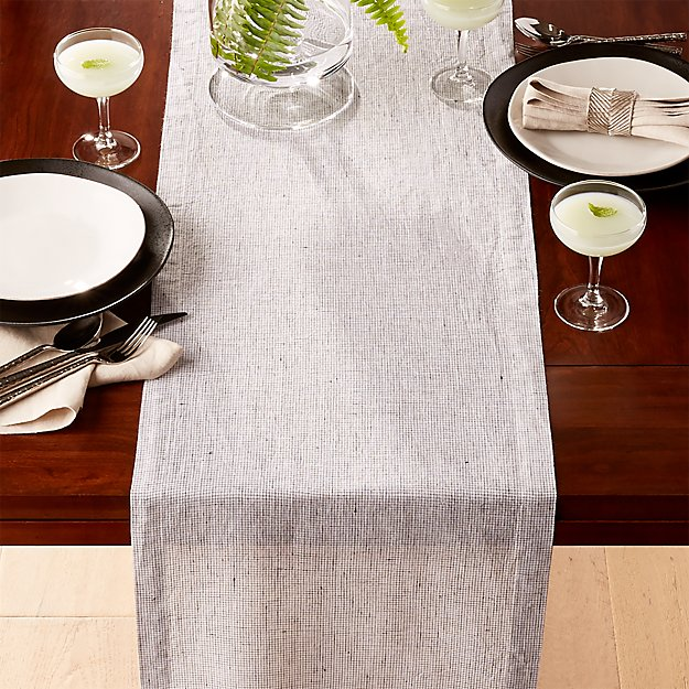 Suits Neutral Grid Grey Linen Table Runner Crate And Barrel
