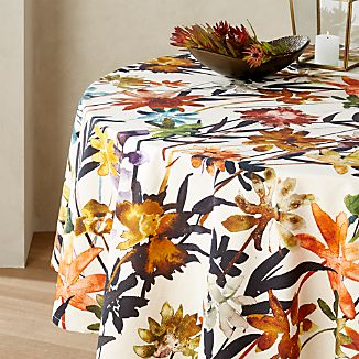 Suki Natural Fl Print Tablecloth 60 Round