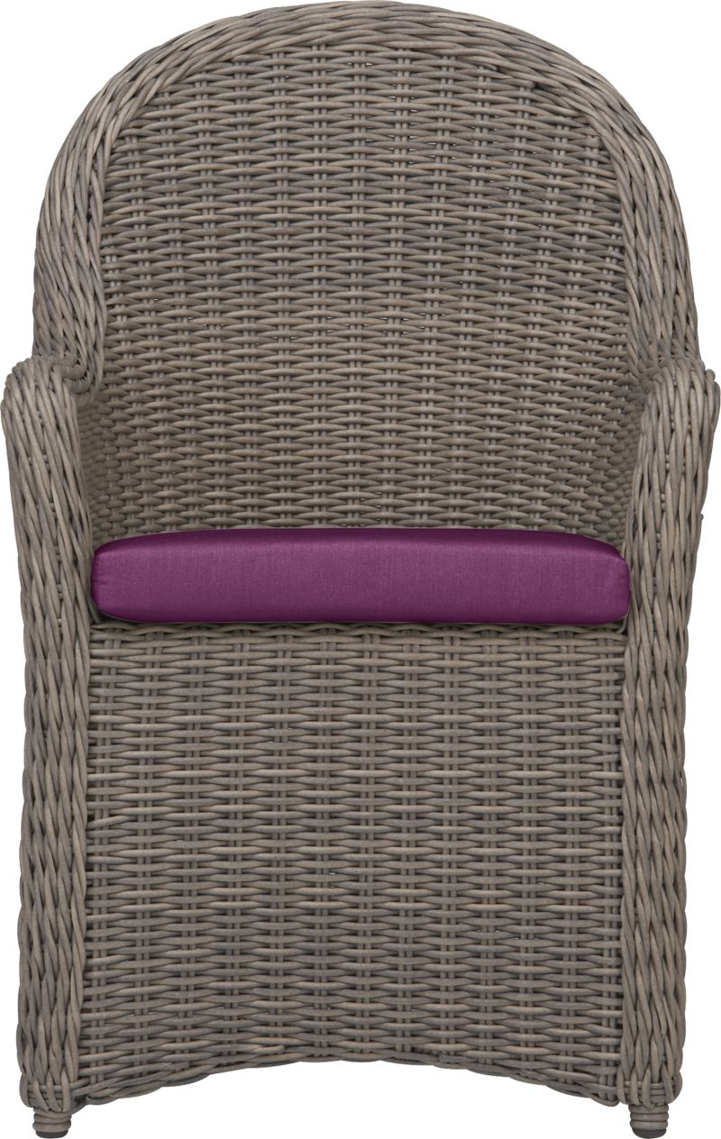 Romantic wicker porch style in a 100% recyclable weave that can take any weather, rain or shine. Classic high-back seating features curved arms that flow into a full skirt. Crafted with a rustproof powdercoated aluminum frame handwoven in durable UV- and weather-resistant resin finished a tonal kubu color that captures the true nature and patina of wicker. Optional cushion is fade- and mildew-resistant Sunbrella® acrylic in vibrant phlox. Summerlin lounge collection also available.<br />After you place your order, we will send a fabric swatch via next day air for your final approval. We will contact you to verify both your receipt and approval of the fabric swatch before finalizing your order.<br /><br /><NEWTAG/><ul><li>UV- and weather-resistant resin wicker</li><li>Aluminum frame with powdercoat finish</li><li>Cushion is fade- and mildew-resistant Sunbrella acrylic</li><li>Poly wrapped foam cushion fill; spot clean</li></ul>