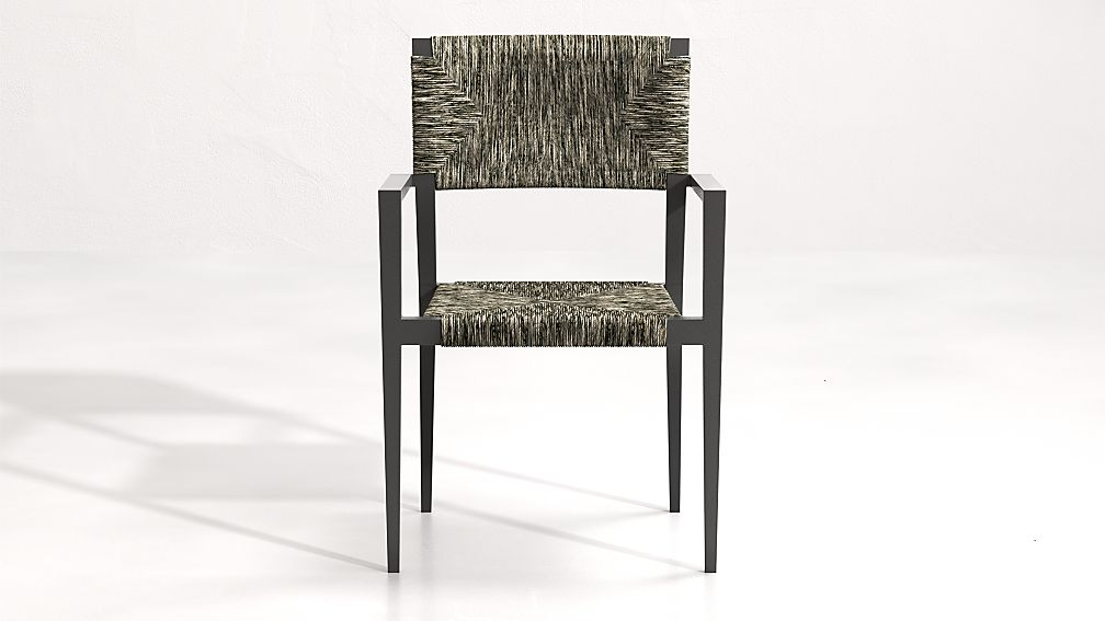 Suri All-Weather Woven Wicker Dining Arm Chair - Image 1 of 6
