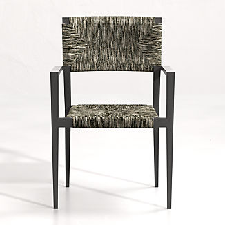 Suri All-Weather Woven Wicker Dining Arm Chair