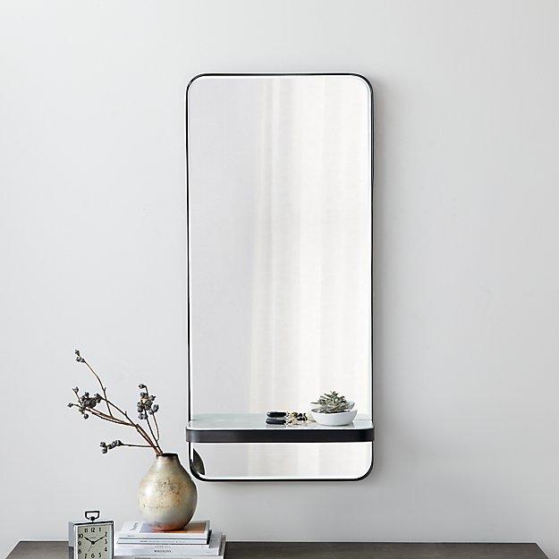 Sutton Gunmetal Mirror with Shelf - Image 1 of 4