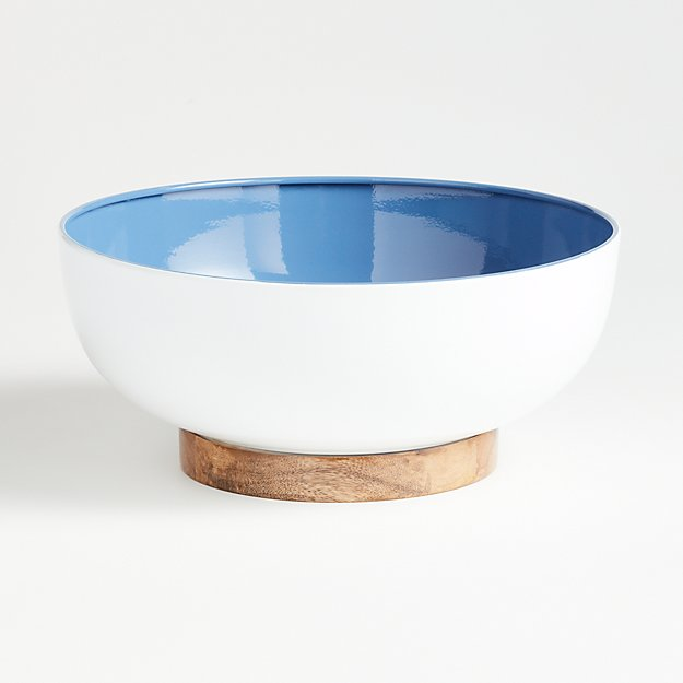 Sutton Wood and Enamel Bowl - Image 1 of 2