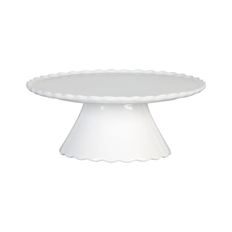 Pretty stoneware pedestal with ruffled rim and base adds patisserie charm to food service.<br /><br /><NEWTAG/><ul><li>Stoneware</li><li>Dishwasher-, microwave-, freezer- and oven-safe to 250 degrees</li></ul>