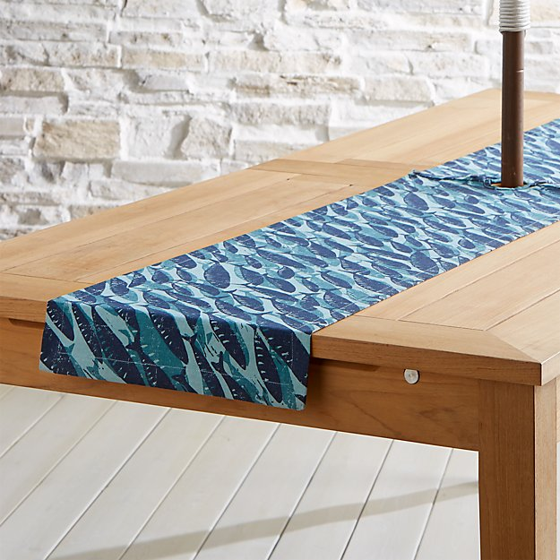 swimming fish outdoor table runner with umbrella hole 90 reviews