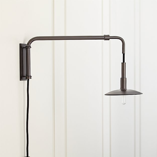 and club brass swing asp double wall arm lamp black p retro