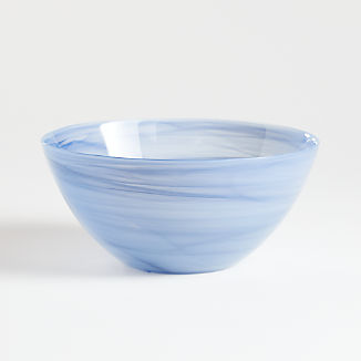 Swirl Blue Glass Serving Bowl