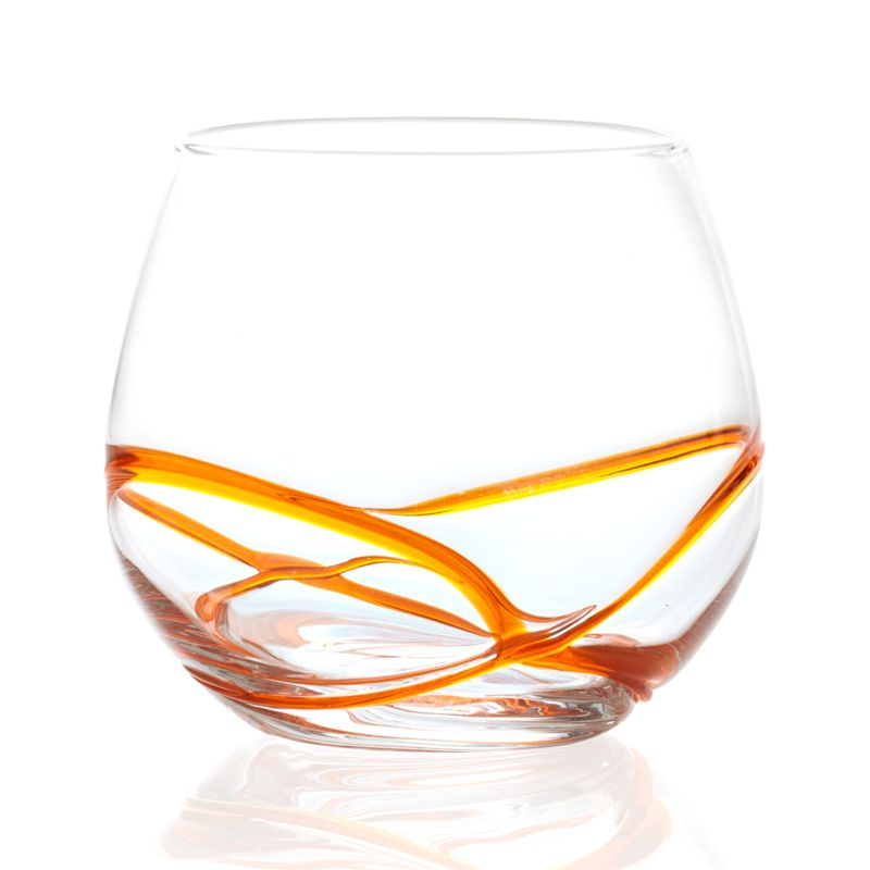 Orange swirl meanders freeform around the base of this wide-mouth, all-purpose beverage glass. Winsome and casual, this handcrafted glass can be used every day to serve water, juice, soda and even wine.<br /><br /><NEWTAG/><ul><li>Handcrafted</li><li>Glass</li><li>Hand wash</li><li>Made in China</li></ul><br />